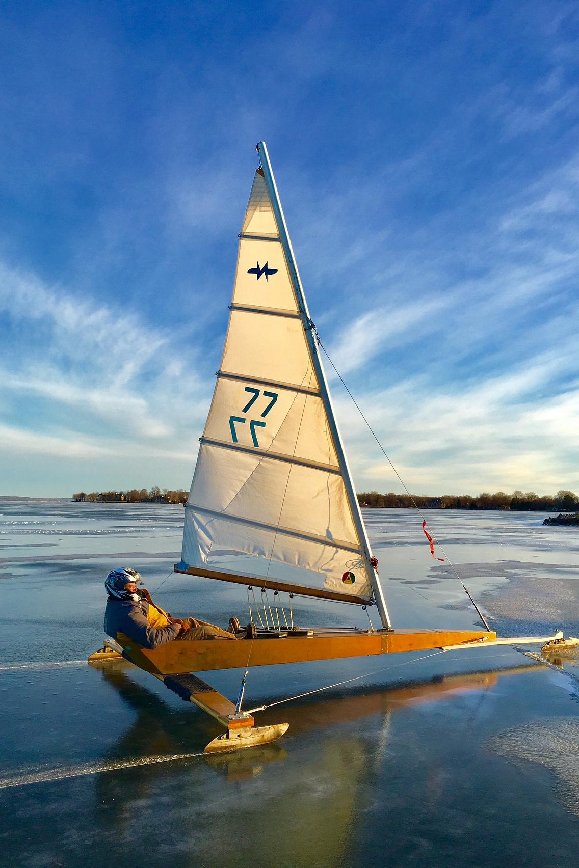 Ice boat gliding across Lake Winnebago