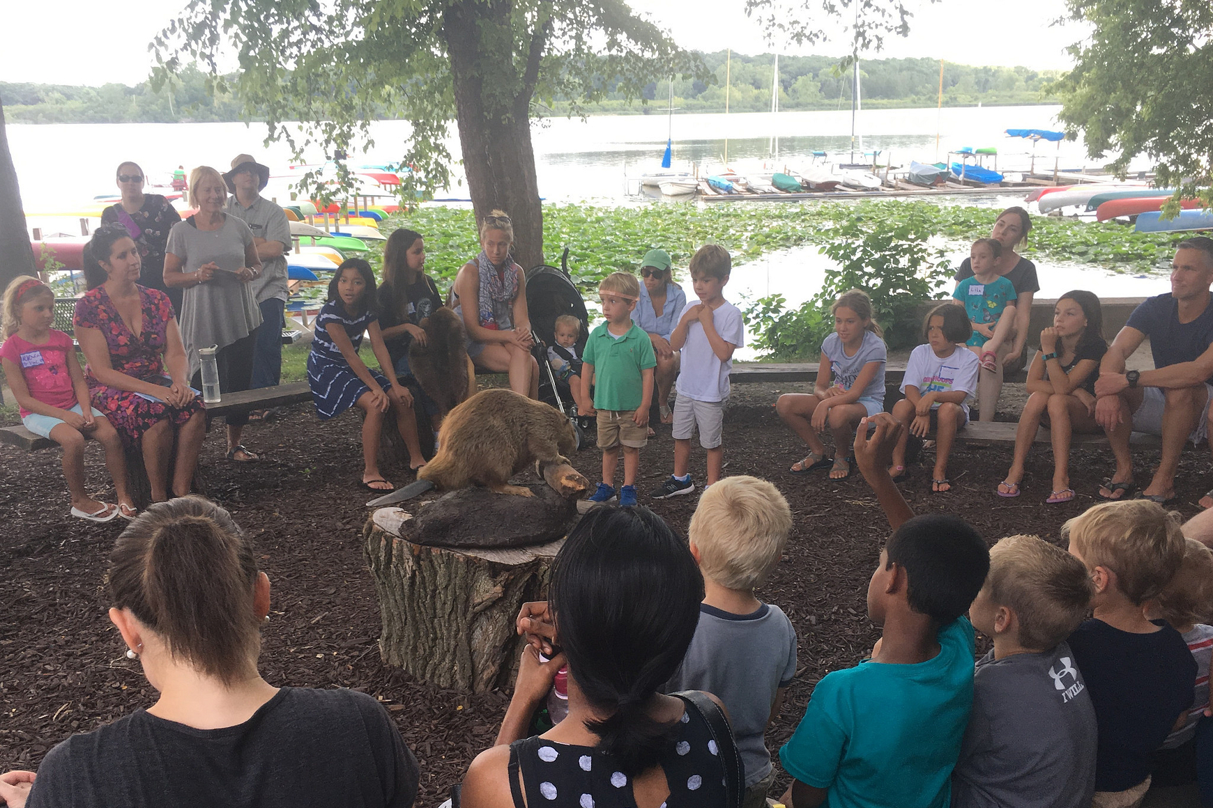 Group of children gathered around a stuffed beaver on a table
