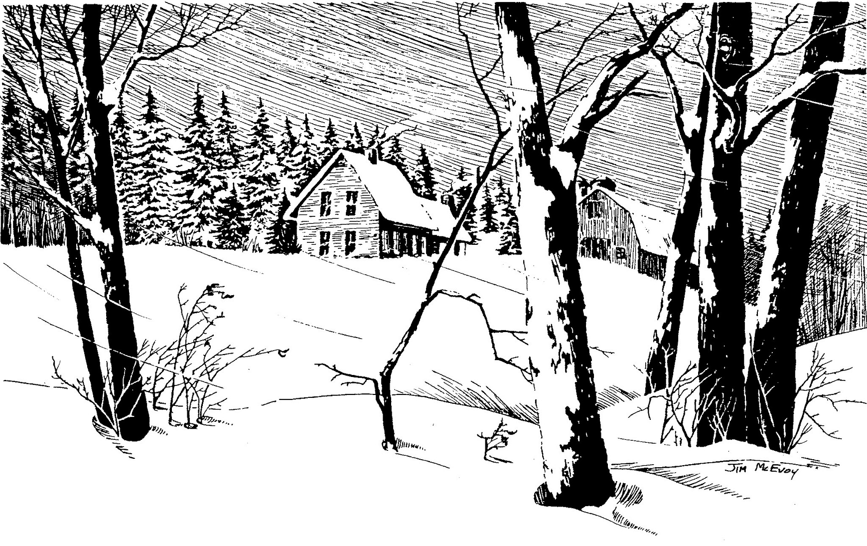 black and white drawing of a rural winter scene