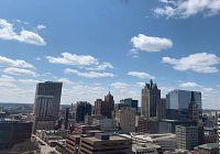 Milwaukee skyline with beautiful blue sky