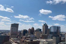 clear blue sky over Milwaukee skyline