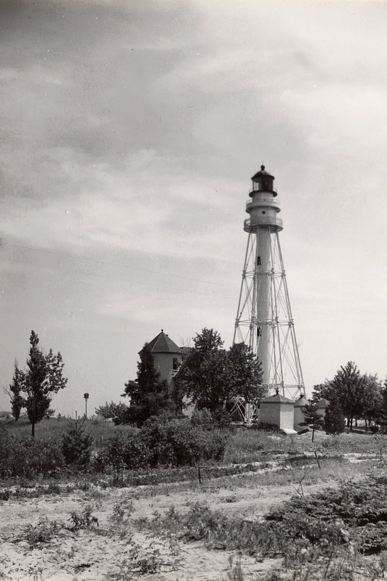 Black and white photo of Rawley Point Lighthouse