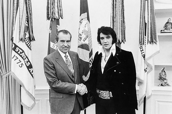 President Nixon, at left, shaking hands with Elvis Presley at the White House