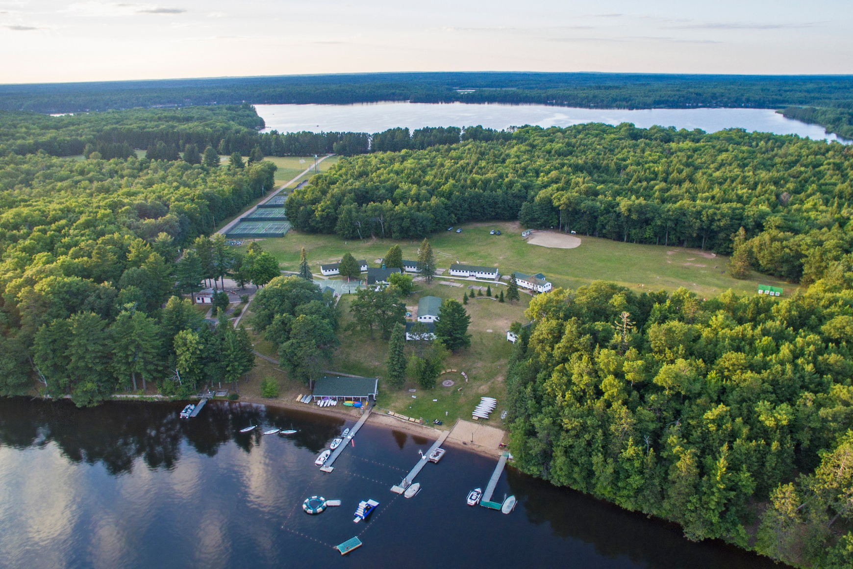Overhead view of Camp Menominee on shore of Sand Lake in Eagle River, Wisconsin