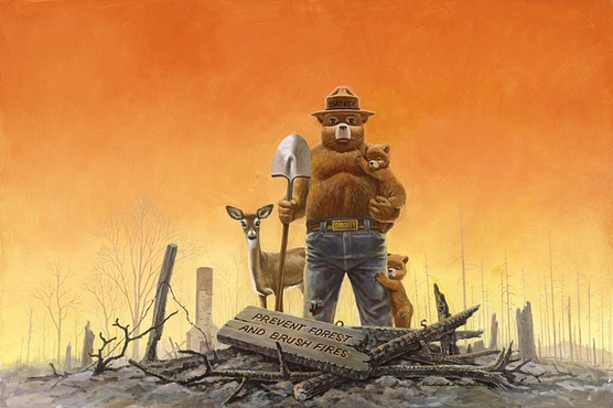 Illustration depicting Smokey Bear and other forest animals after a forest fire