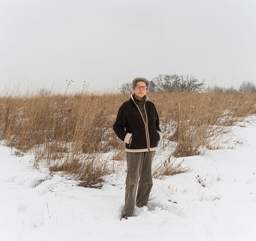 Tia Nelson standing in snow on open prairie at Governor Nelson State Park