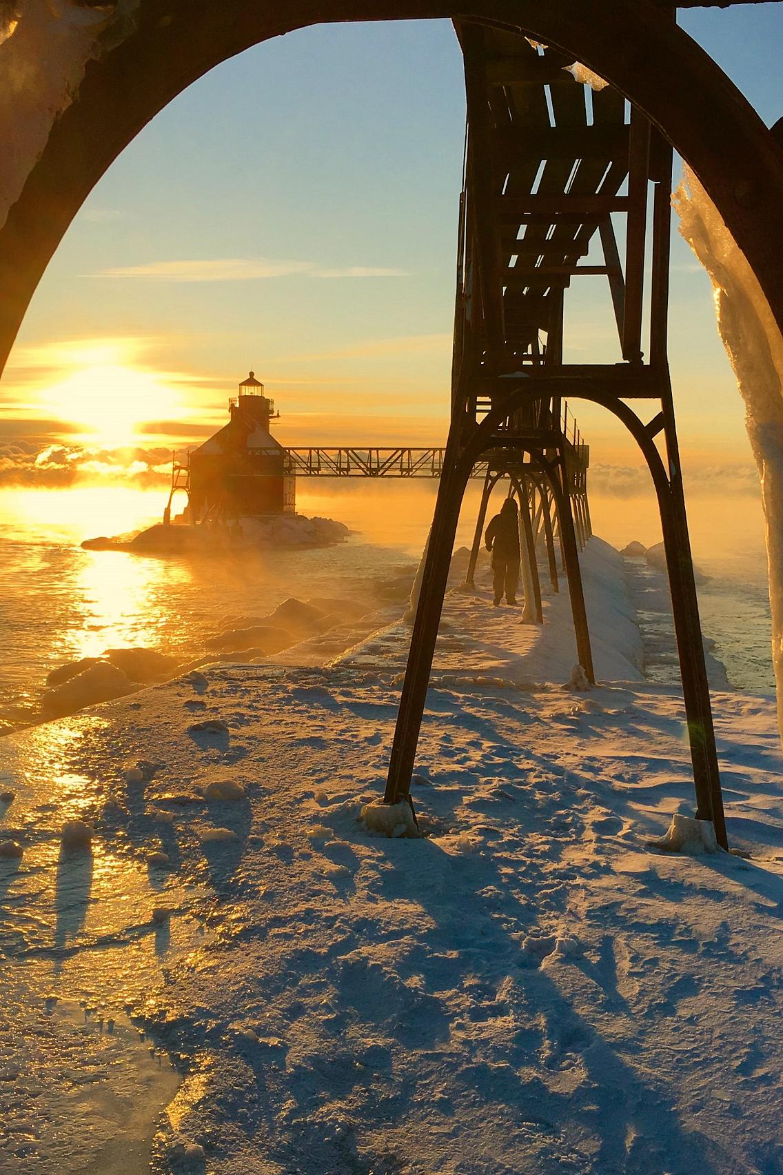 Door County's North Pierhead Light on a frigid winter day