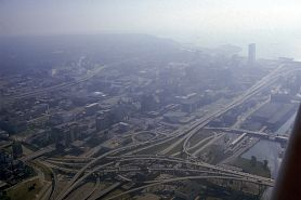 aerial view of hazy sky over city of Milwaukee