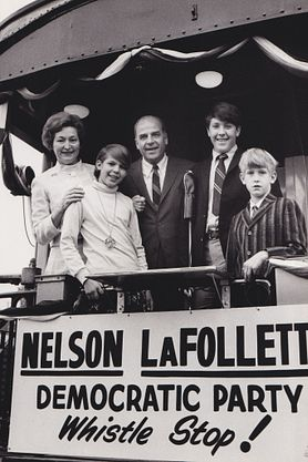 Gaylord Nelson and family on a whistle stop train tour during his 1968 campaign for U.S. Senate