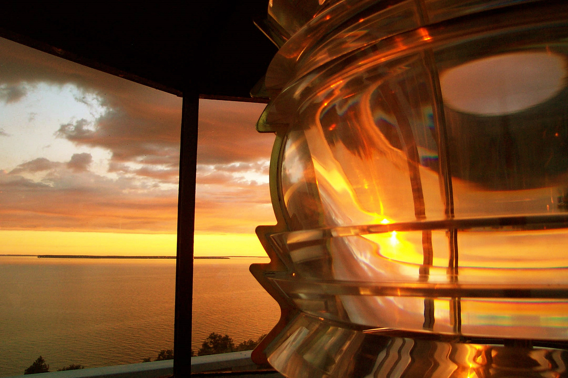 Close-up of lens in lantern room at Pottawatomie Lighthouse
