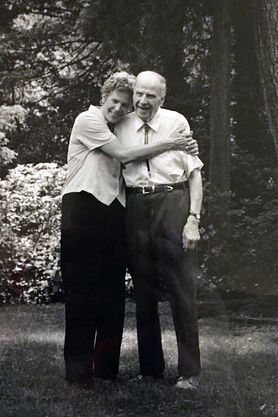 adult Tia Nelson hugs her father, Gaylord Nelson