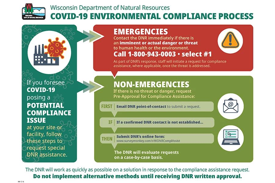 This chart outlines the environmental compliance process during the COVID-19 public health emergency. - Photo credit: DNR