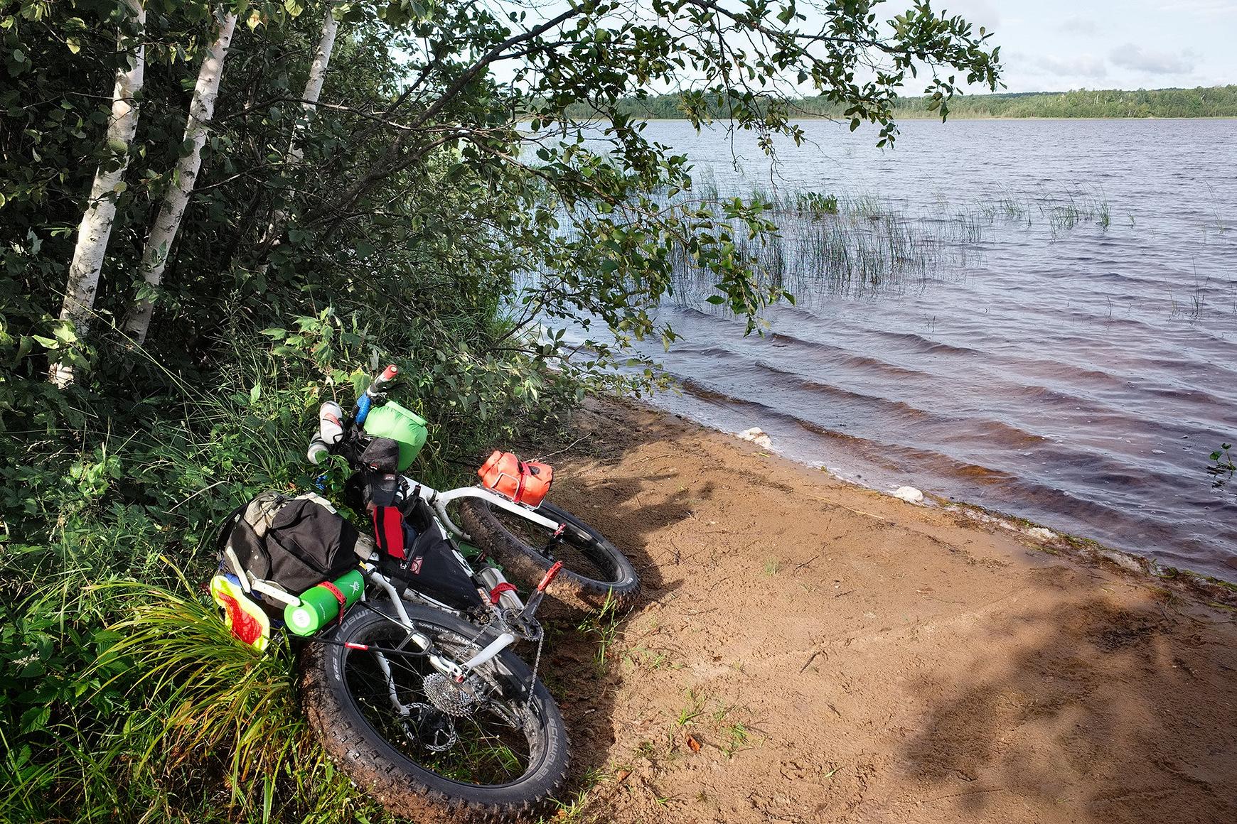 A fat-tire bike laying near the shore of a lake