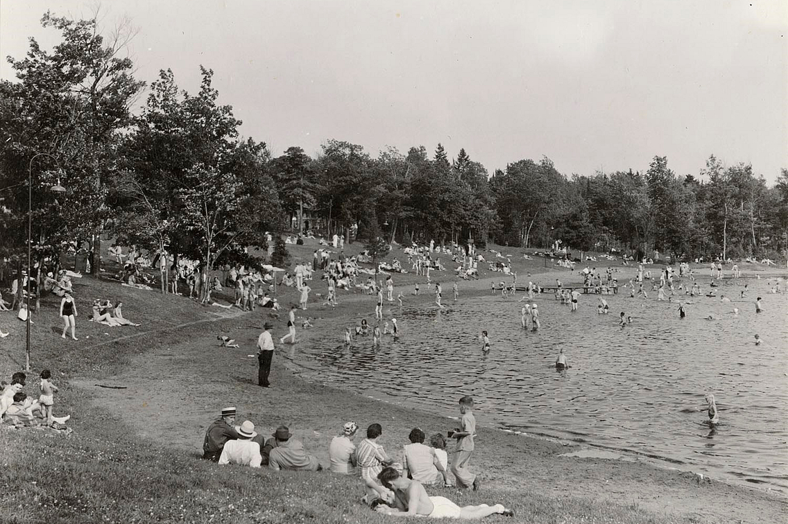 the beach at Pattison State Park in 1941
