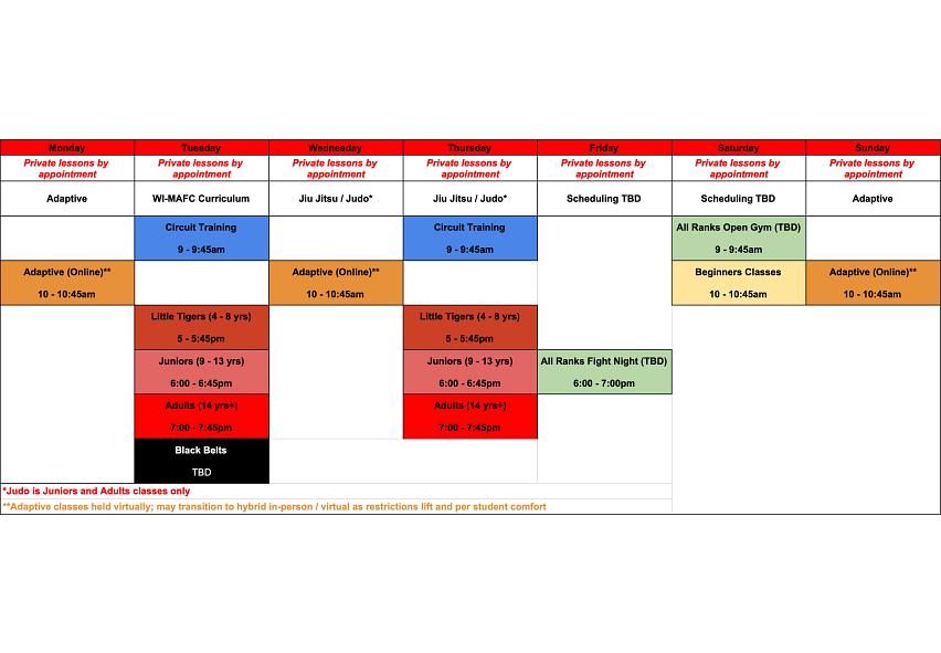 North class schedule