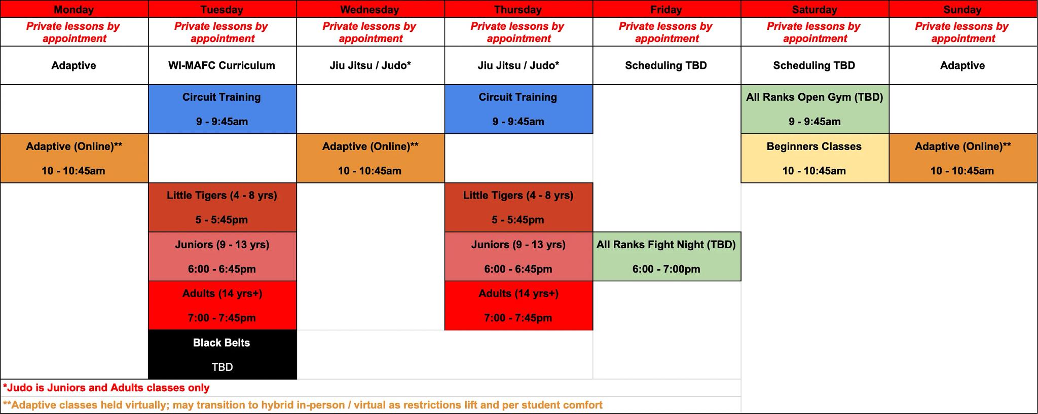 north schedule