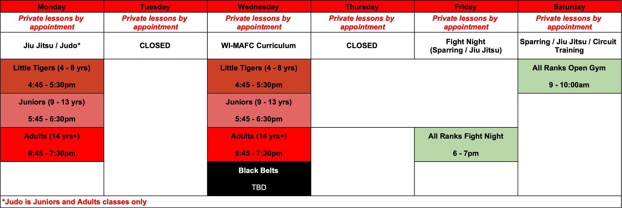 West class schedule
