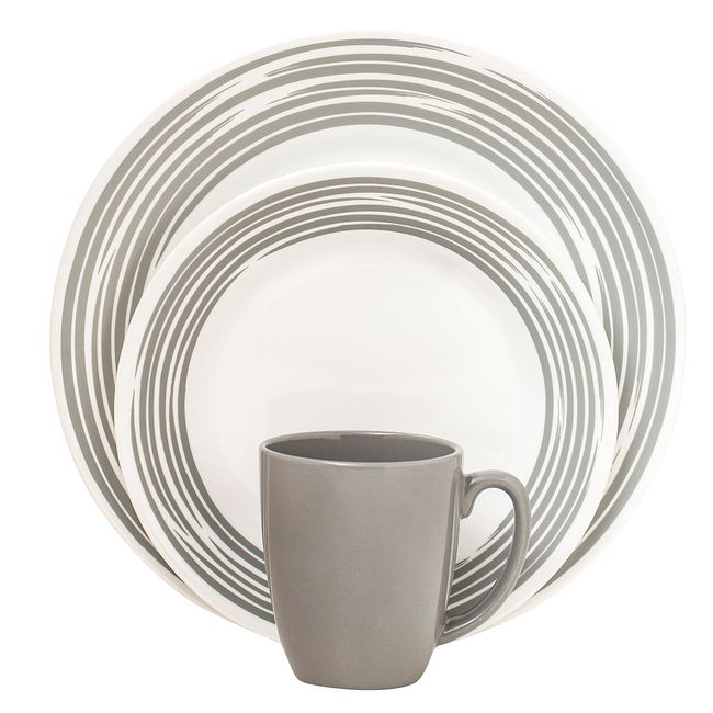 Boutique Brushed 16-pc Dinnerware Set, Silver