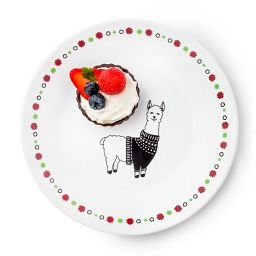 "Falalala Llama Polly 6.75"" Appetizer Plate with cupcake on it"