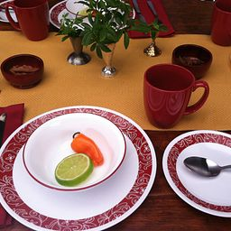 Bandhani 16-pc Dinnerware Setting on the Table