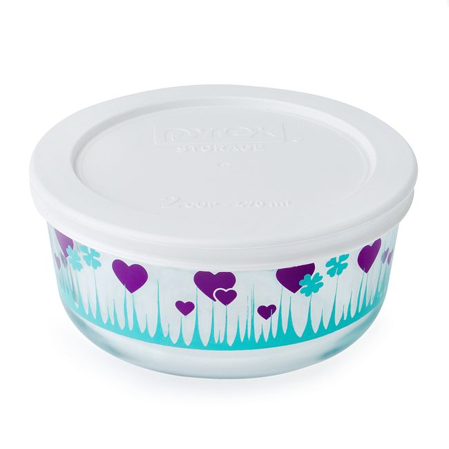 Midnight Garden 2-cup Glass Food Storage Container with White Lid