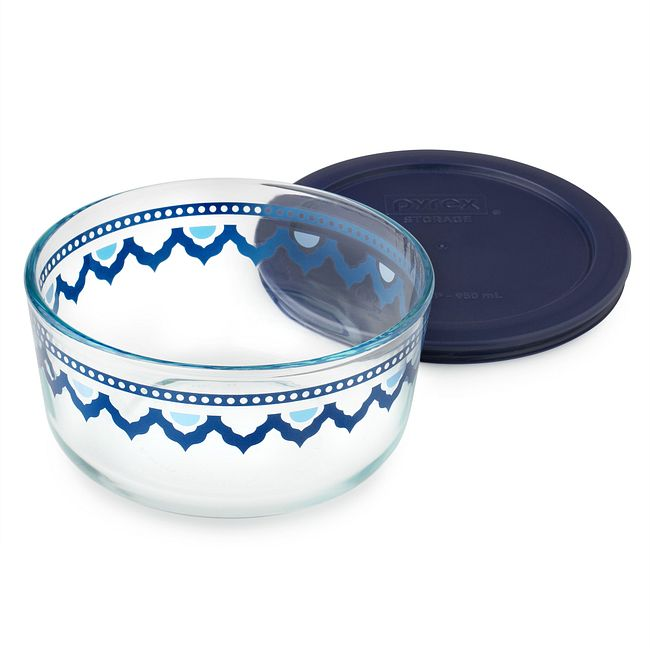 Santorini 4-cup Glass Food Storage Container with Blue Lid