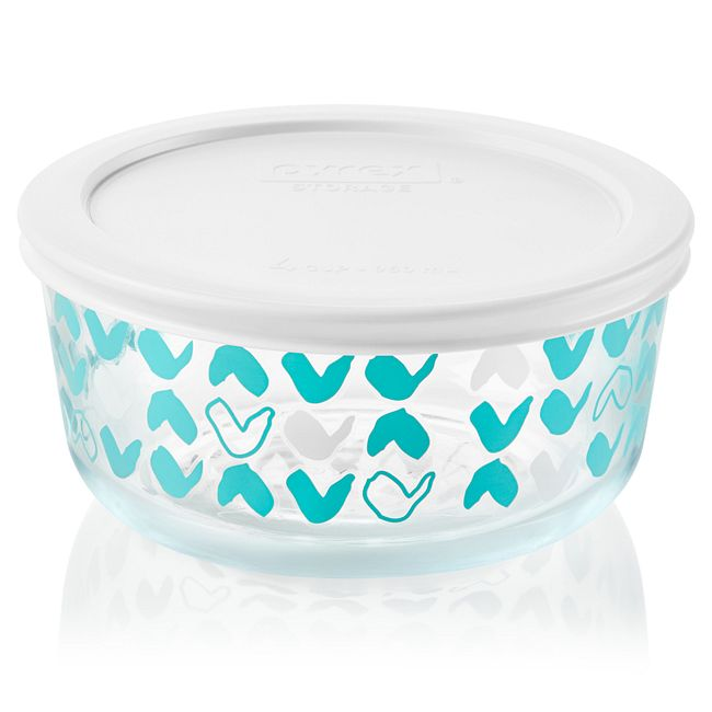Doodles 4-cup Glass Food Storage Container with White Lid