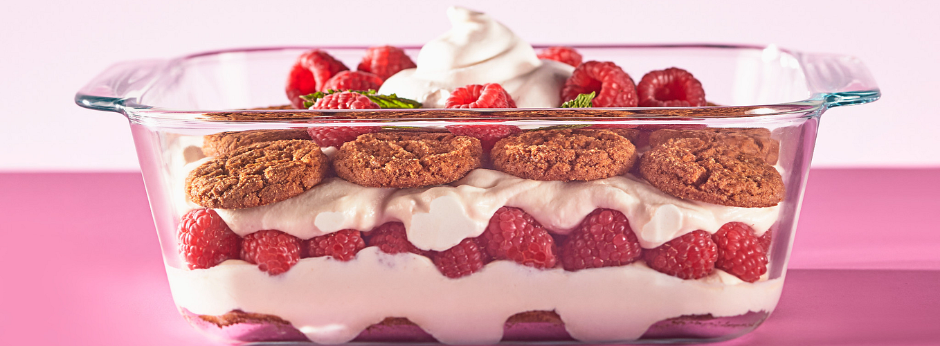 Baking Dish with raspberry trifle.