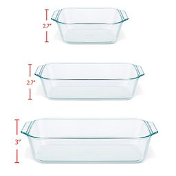 Deep 6-pc Baking Dish Set with measurements shown by each vessel