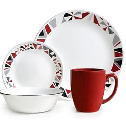 Mosaic Red 16-pc Dinnerware Set