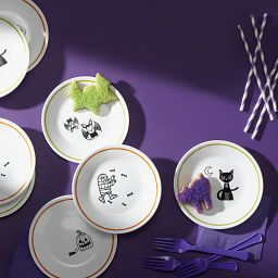 "Party Ghouls 6.75"" Appetizer Plate Set, 8-pk on the table"