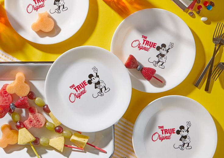 Corelle® 12-pc Dinnerware Set: Mickey Mouse™ - The True Original on table