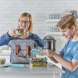 Decorated Storage Star Wars 8-pc Set with food being placed in a large lunch / carrying bag