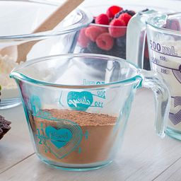 Love 1 Cup Turquoise Measuring Cup with Brown Sugar in Cup