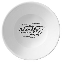 Celebrations Thankful 2-qt Serving Bowl top view with words inside