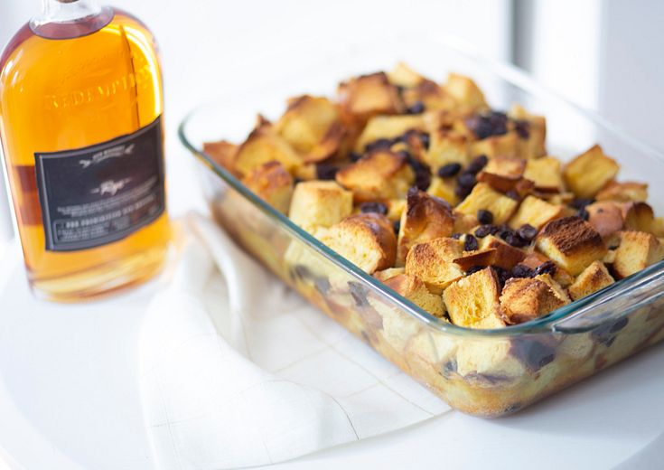 bread pudding shown in a pyrex deep baking dish
