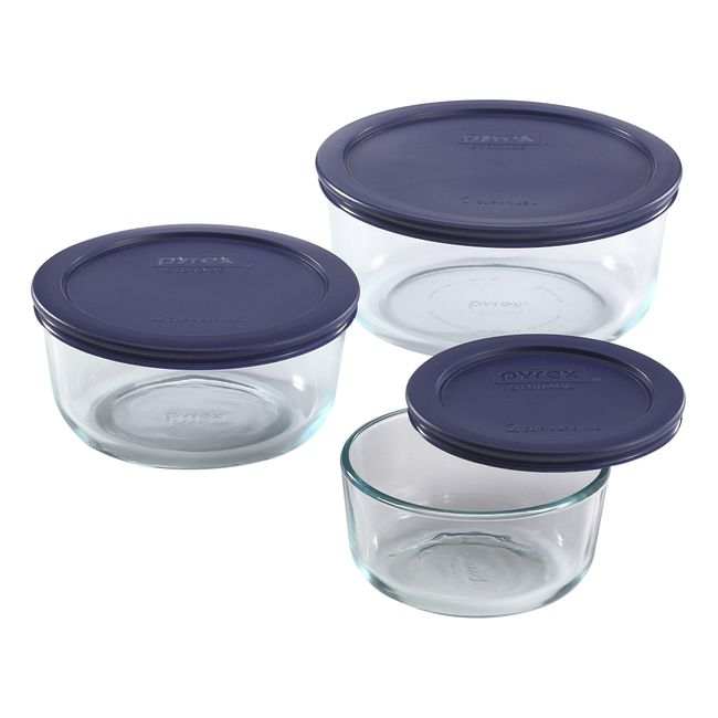 6-piece Round Glass Food Storage Container Set with Blue Lids