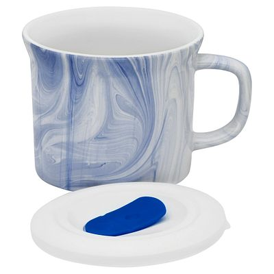 Corningware 20-Oz Marble Marine Blue Meal Mug W/ Lid
