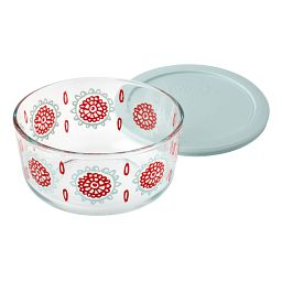 Bloom Horizon  4-cup Storage Dish with Light Blue Lid off