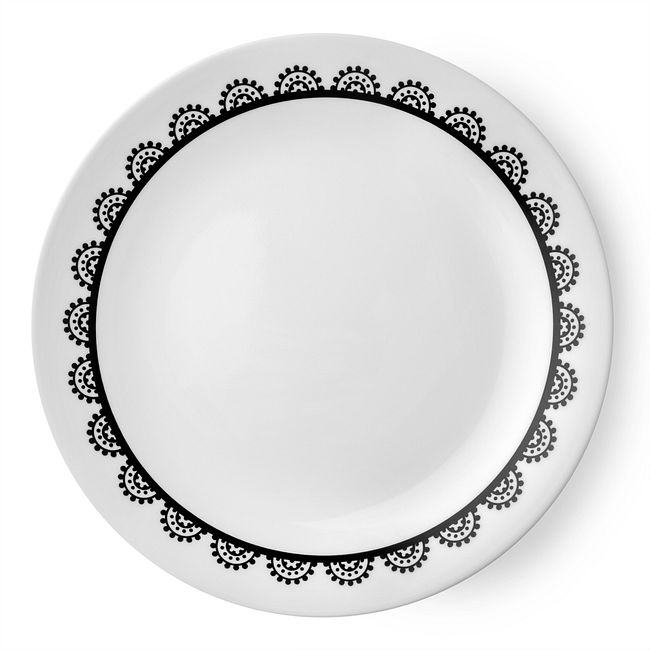 "Livingware Lace 8.5"" Plate, Black & White"