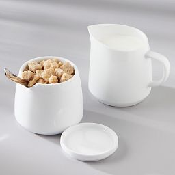 Winter Frost White 2-piece Porcelain Sugar and Creamer Set on the table