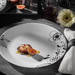 """Inked Poppy 10.25"""" Dinner Plate on the table with food on it"""