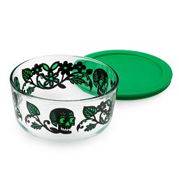 Skull Garden 4 Cup Glass Food Storage Container with Green Lid with lid on side