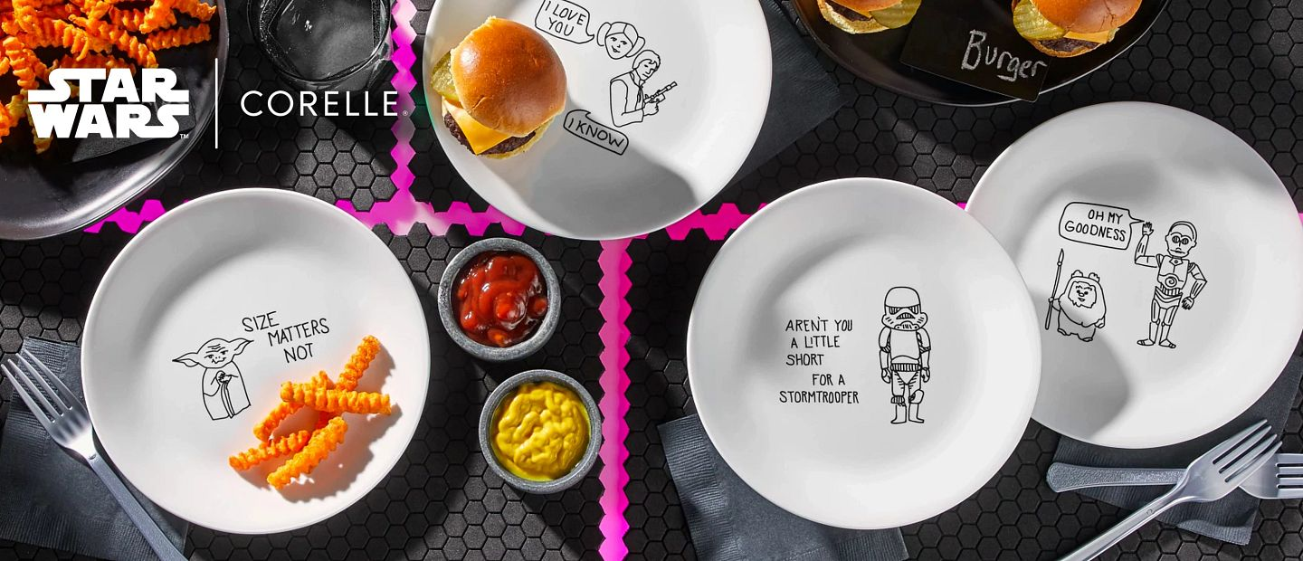 Corelle Star Wars Plates on table with food
