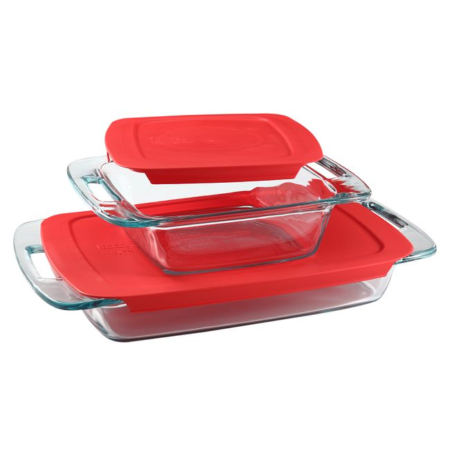 Easy Grab 4-piece Glass Bakeware Set with Red Lids