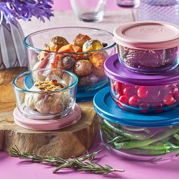 10-piece Glass Food Storage Container Set with food  inside each on the table