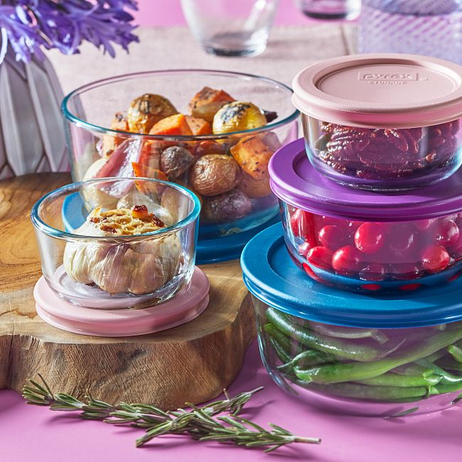 10-piece Glass Food Storage Container Set with Pastel Colored Lids