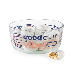 Good Vibes 7-cup Glass Food Storage Container with donuts inside
