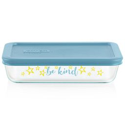 Sentiments Be Kind 3-cup Glass Food Storage Container with lid on - lid sold separately