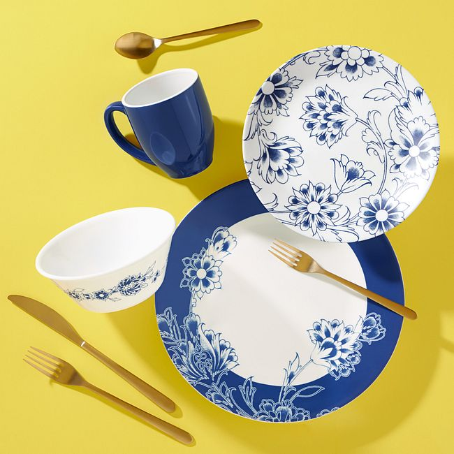 Indigo Blooms 16-piece Dinnerware Set, Service for 4